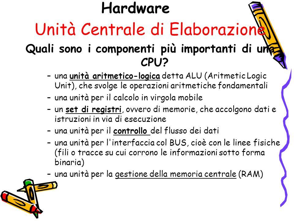 Hardware Unità Centrale di Elaborazione Quali sono i componenti più importanti di una CPU.