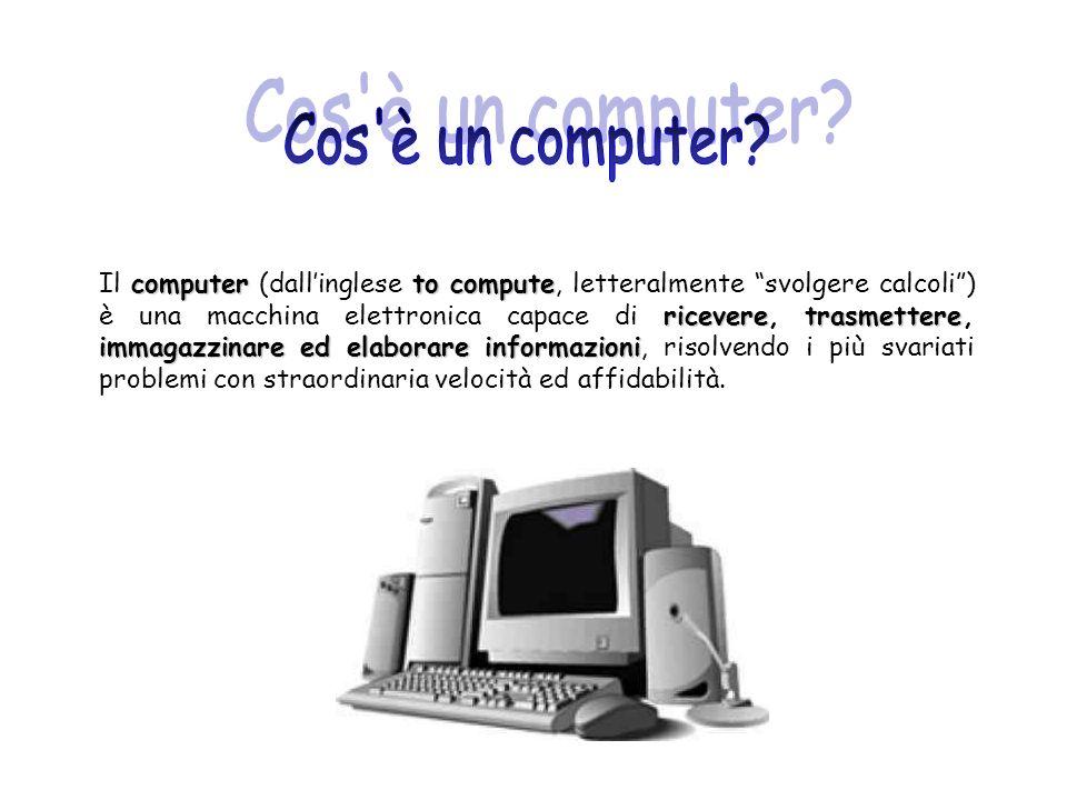 Tecnicamente, tutto ciò che riguarda linformatica (e quindi anche il computer) si può dividere in due parti: HARDWARE HARDWARE: tutti i componenti fisici del computer (circuiti elettrici ed elettronici, cavi, supporti, e in generale tutto ciò che si può toccare materialmente); SOFTWARE: SOFTWARE: tutti i programmi, i dati e i documenti che stabiliscono le procedure di funzionamento della macchina e che si trovano registrati sui dischi o nella memoria