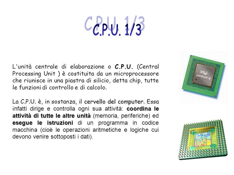 C.P.U. L'unità centrale di elaborazione o C.P.U. (Central Processing Unit ) è costituita da un microprocessore che riunisce in una piastra di silicio,