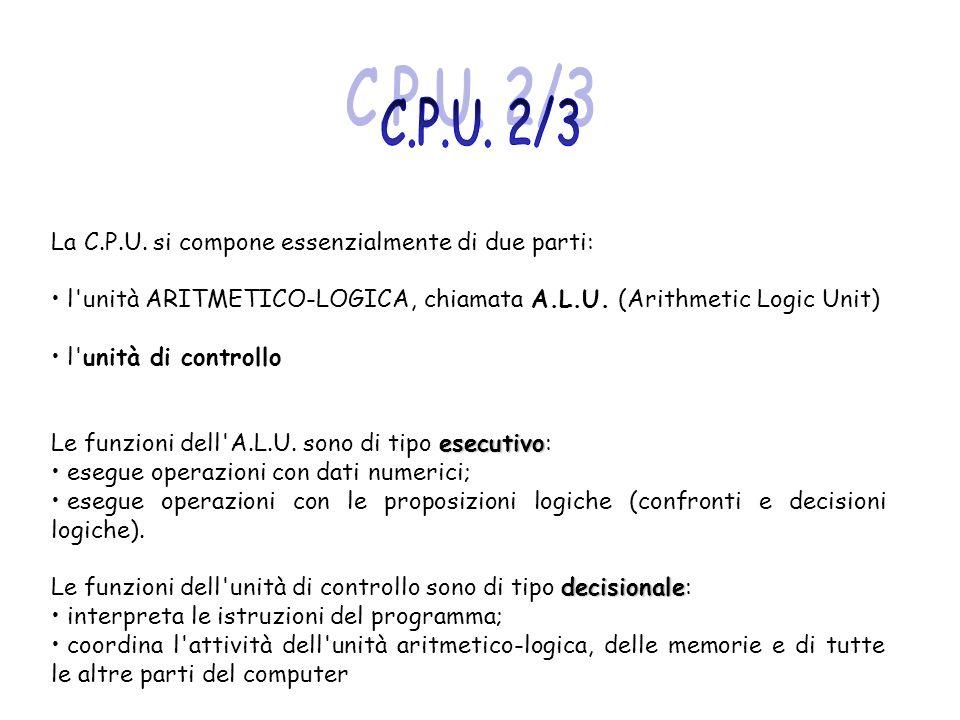La C.P.U. si compone essenzialmente di due parti: l'unità ARITMETICO-LOGICA, chiamata A.L.U. (Arithmetic Logic Unit) l'unità di controllo esecutivo Le