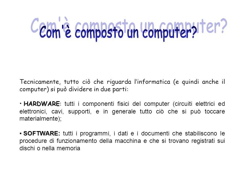 Esistono diverse categorie di computer, suddivise secondo la potenza e l utilizzo : Personal Computer Workstation Workstation Mainframe Mainframe