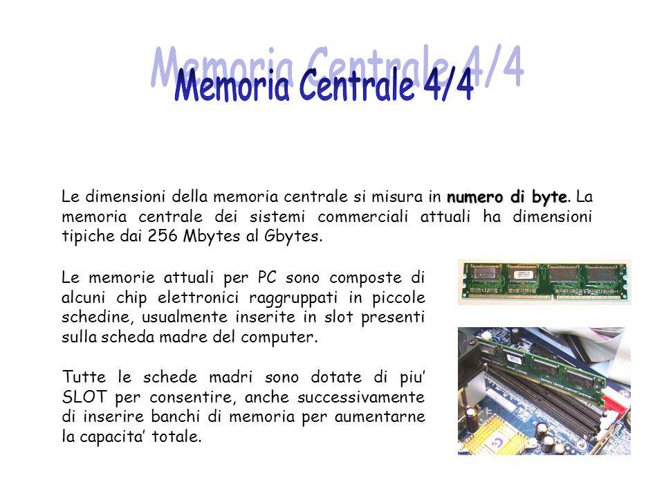 numero di byte Le dimensioni della memoria centrale si misura in numero di byte. La memoria centrale dei sistemi commerciali attuali ha dimensioni tip