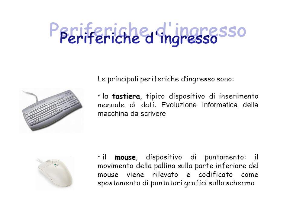 Le principali periferiche dingresso sono: tastiera la tastiera, tipico dispositivo di inserimento manuale di dati. Evoluzione informatica della macchi