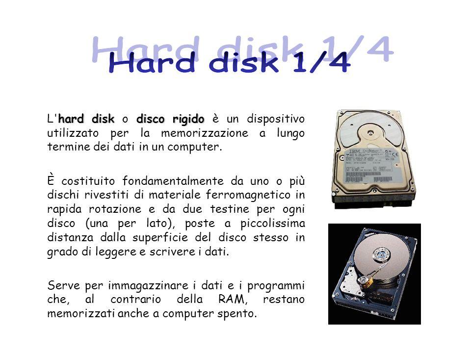 hard diskdisco rigido L'hard disk o disco rigido è un dispositivo utilizzato per la memorizzazione a lungo termine dei dati in un computer. È costitui