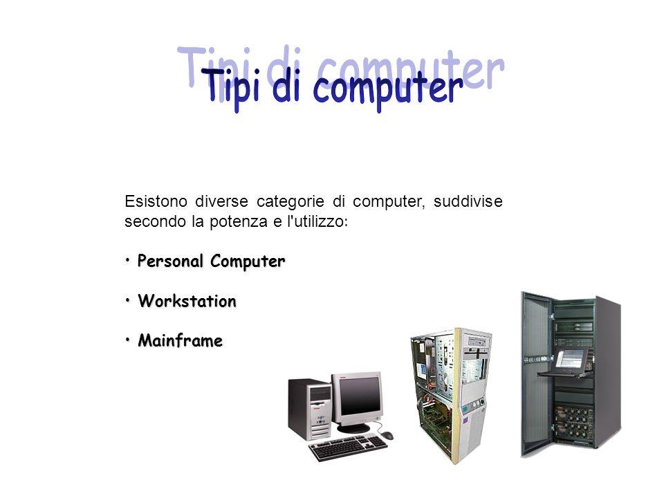 Esistono diverse categorie di computer, suddivise secondo la potenza e l'utilizzo : Personal Computer Workstation Workstation Mainframe Mainframe