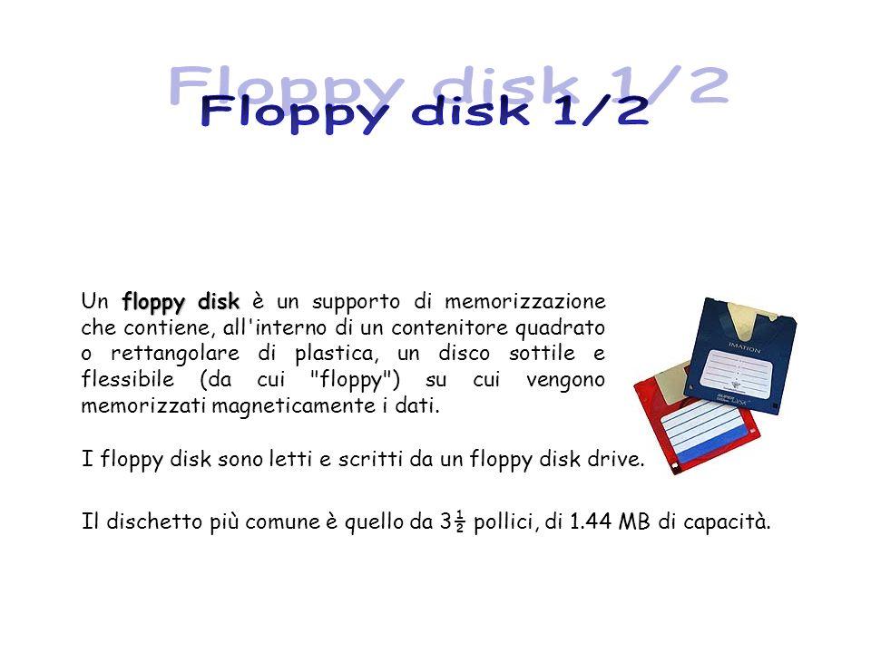 I floppy disk sono letti e scritti da un floppy disk drive. Il dischetto più comune è quello da 3½ pollici, di 1.44 MB di capacità. floppy disk Un flo
