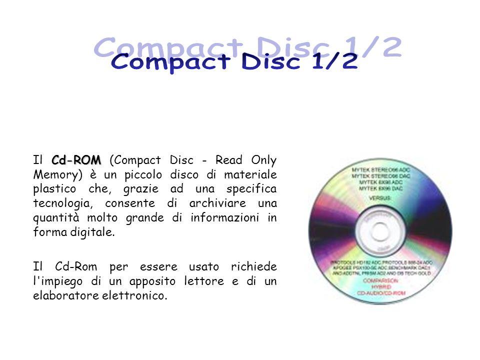 Cd-ROM Il Cd-ROM (Compact Disc - Read Only Memory) è un piccolo disco di materiale plastico che, grazie ad una specifica tecnologia, consente di archi
