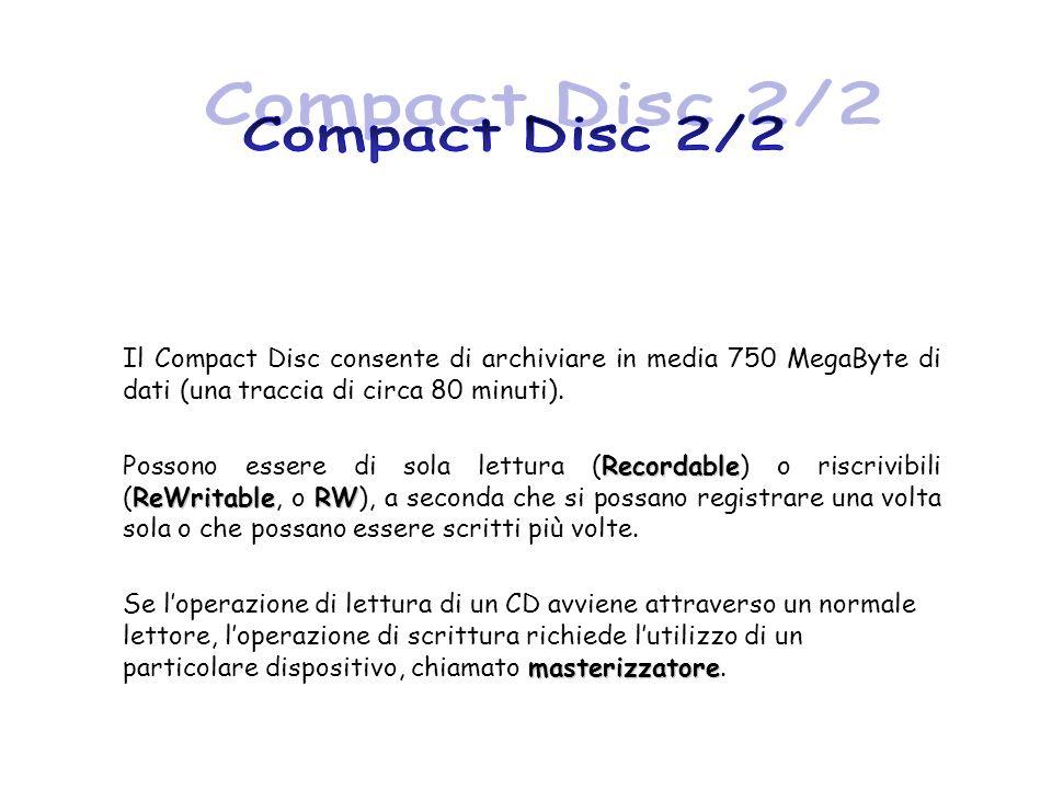 Il Compact Disc consente di archiviare in media 750 MegaByte di dati (una traccia di circa 80 minuti). Recordable ReWritableRW Possono essere di sola