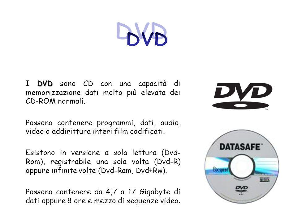 DVD I DVD sono CD con una capacità di memorizzazione dati molto più elevata dei CD-ROM normali. Possono contenere programmi, dati, audio, video o addi