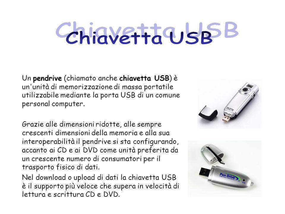 pendrivechiavetta USB Un pendrive (chiamato anche chiavetta USB) è un'unità di memorizzazione di massa portatile utilizzabile mediante la porta USB di