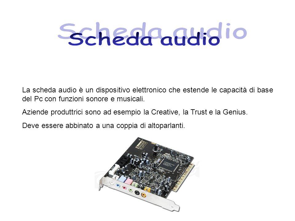 La scheda audio è un dispositivo elettronico che estende le capacità di base del Pc con funzioni sonore e musicali. Aziende produttrici sono ad esempi