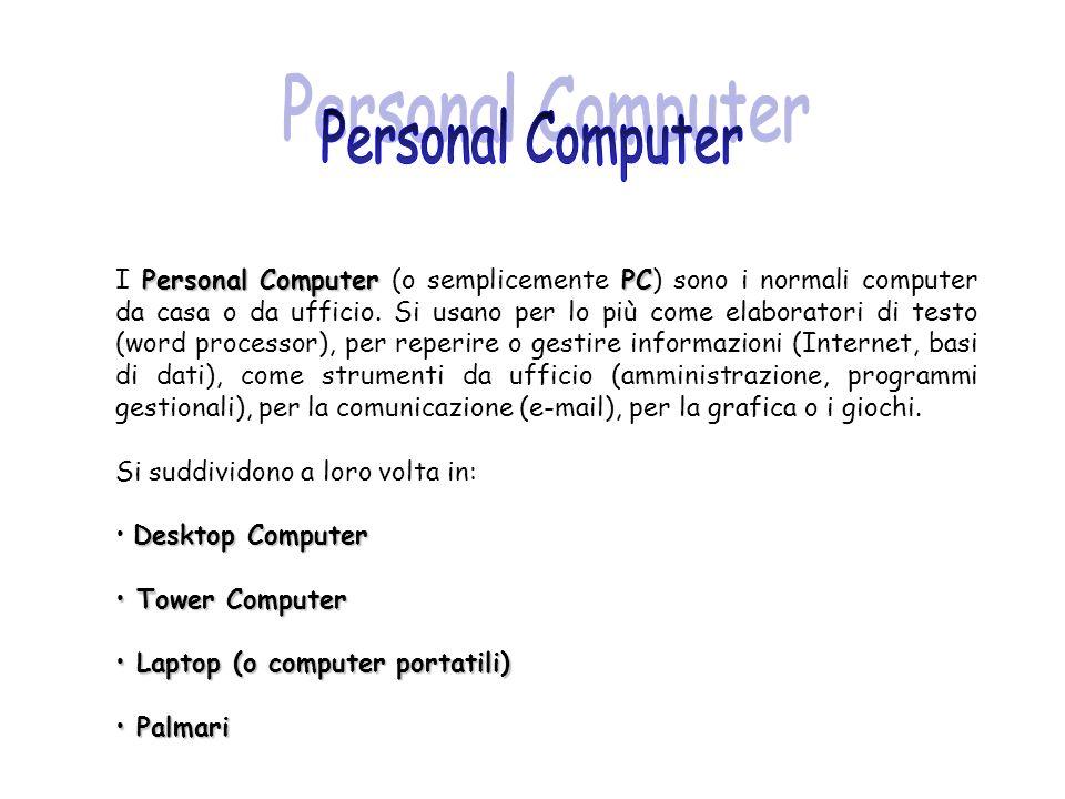 Personal Computer PC I Personal Computer (o semplicemente PC) sono i normali computer da casa o da ufficio. Si usano per lo più come elaboratori di te