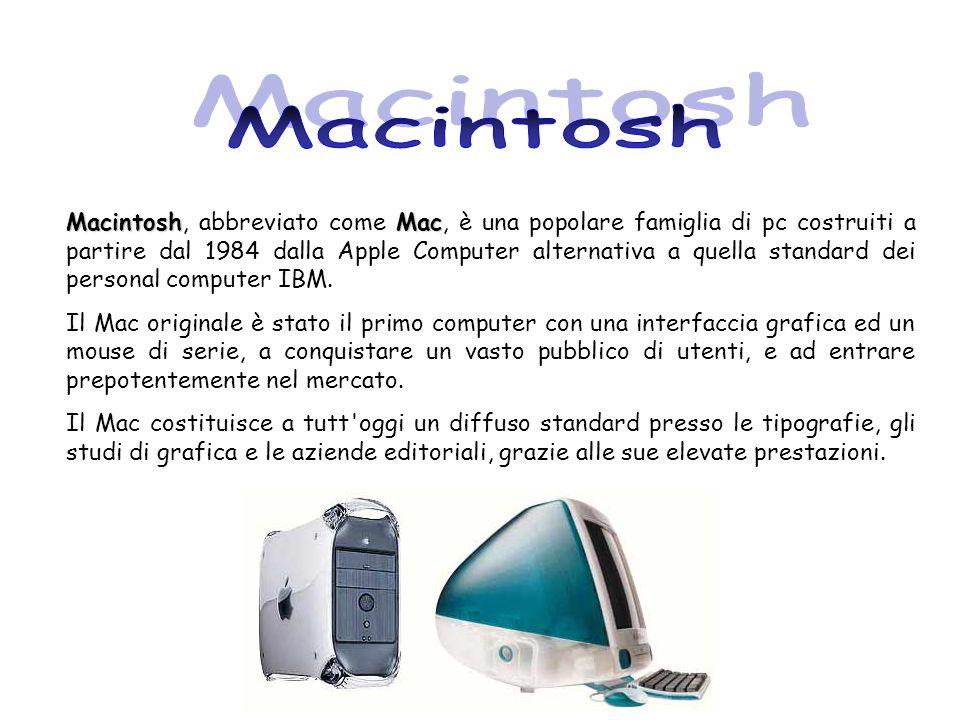 MacintoshMac Macintosh, abbreviato come Mac, è una popolare famiglia di pc costruiti a partire dal 1984 dalla Apple Computer alternativa a quella stan