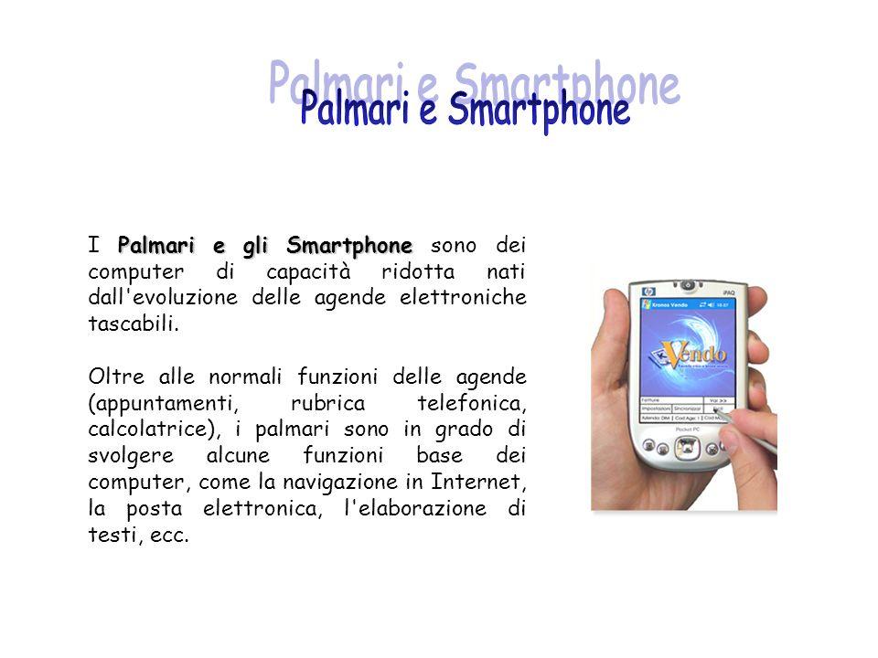 Palmari e gli Smartphone I Palmari e gli Smartphone sono dei computer di capacità ridotta nati dall'evoluzione delle agende elettroniche tascabili. Ol