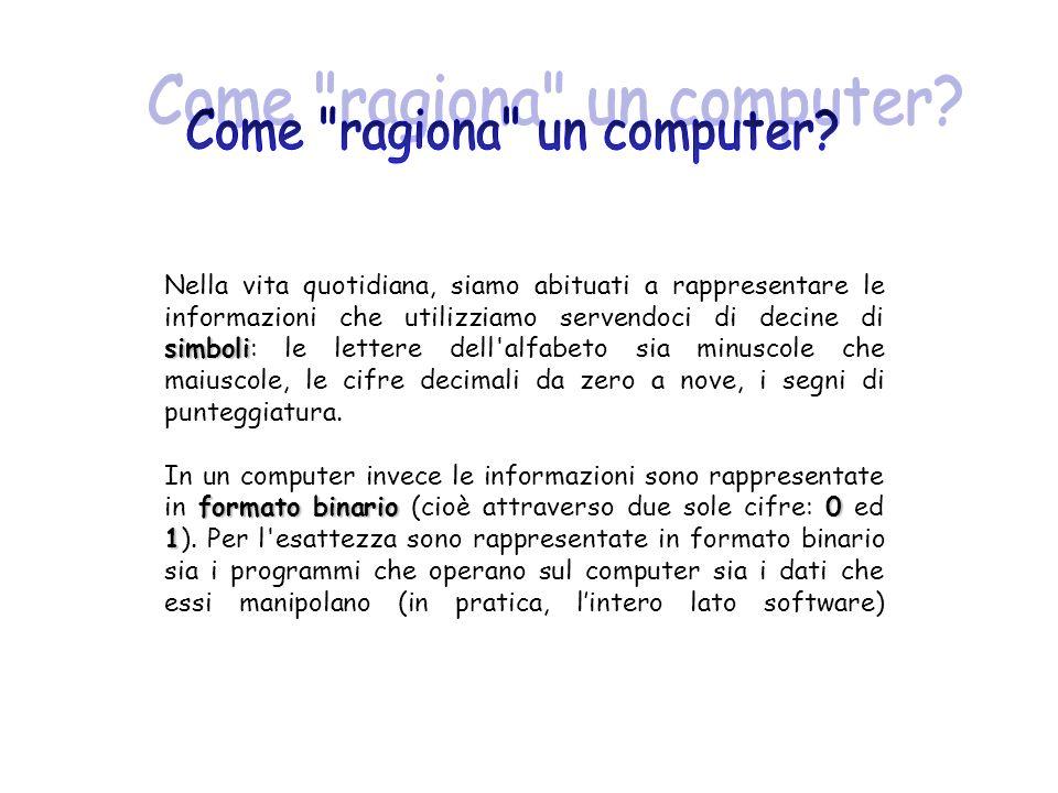 bit Per rappresentare le informazioni, i computer si servono di milioni di componenti elementari: i bit.