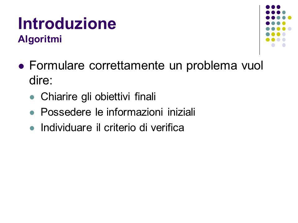 Introduzione Algoritmi Formulare correttamente un problema vuol dire: Chiarire gli obiettivi finali Possedere le informazioni iniziali Individuare il criterio di verifica