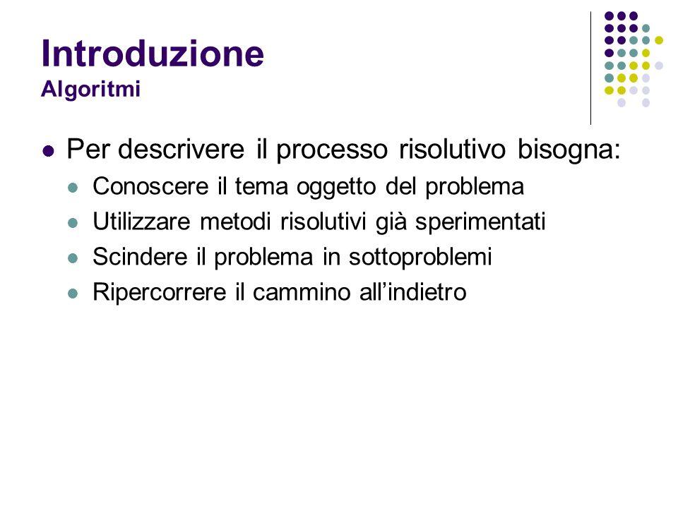 Introduzione Algoritmi Per descrivere il processo risolutivo bisogna: Conoscere il tema oggetto del problema Utilizzare metodi risolutivi già sperimen