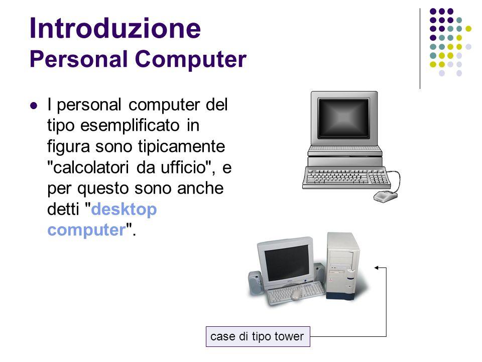 Introduzione Personal Computer I personal computer del tipo esemplificato in figura sono tipicamente