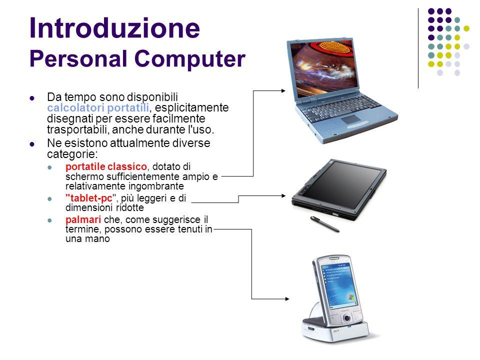 Introduzione Personal Computer Da tempo sono disponibili calcolatori portatili, esplicitamente disegnati per essere facilmente trasportabili, anche durante l uso.
