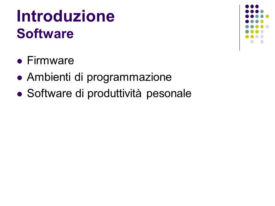 Introduzione Software Firmware Ambienti di programmazione Software di produttività pesonale