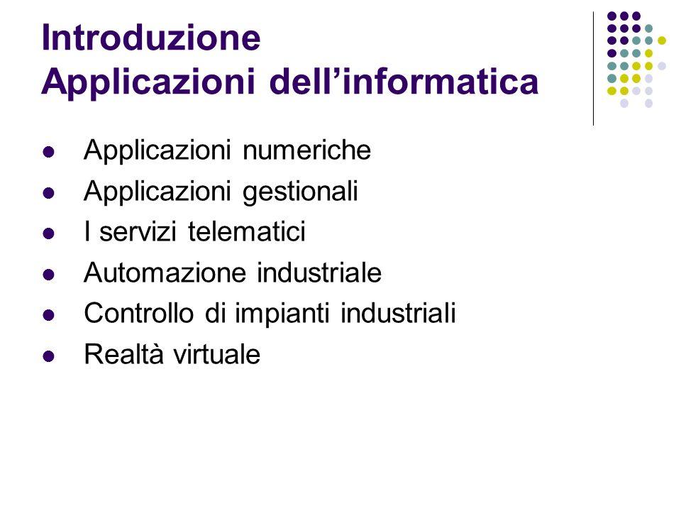 Applicazioni numeriche Applicazioni gestionali I servizi telematici Automazione industriale Controllo di impianti industriali Realtà virtuale Introduzione Applicazioni dellinformatica