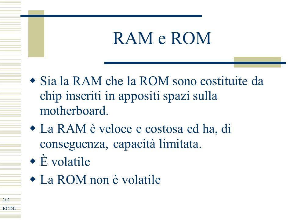 101 ECDL RAM e ROM Sia la RAM che la ROM sono costituite da chip inseriti in appositi spazi sulla motherboard.