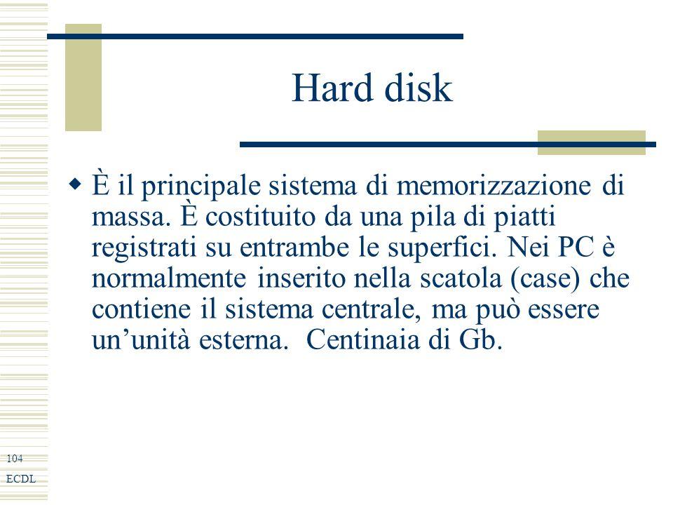 104 ECDL Hard disk È il principale sistema di memorizzazione di massa.