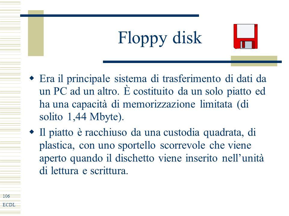 106 ECDL Floppy disk Era il principale sistema di trasferimento di dati da un PC ad un altro.