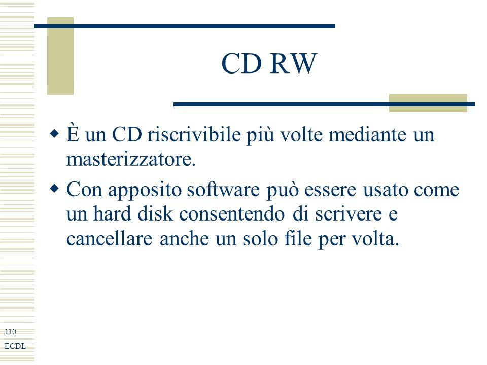 110 ECDL CD RW È un CD riscrivibile più volte mediante un masterizzatore.