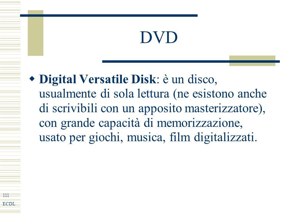 111 ECDL DVD Digital Versatile Disk: è un disco, usualmente di sola lettura (ne esistono anche di scrivibili con un apposito masterizzatore), con grande capacità di memorizzazione, usato per giochi, musica, film digitalizzati.