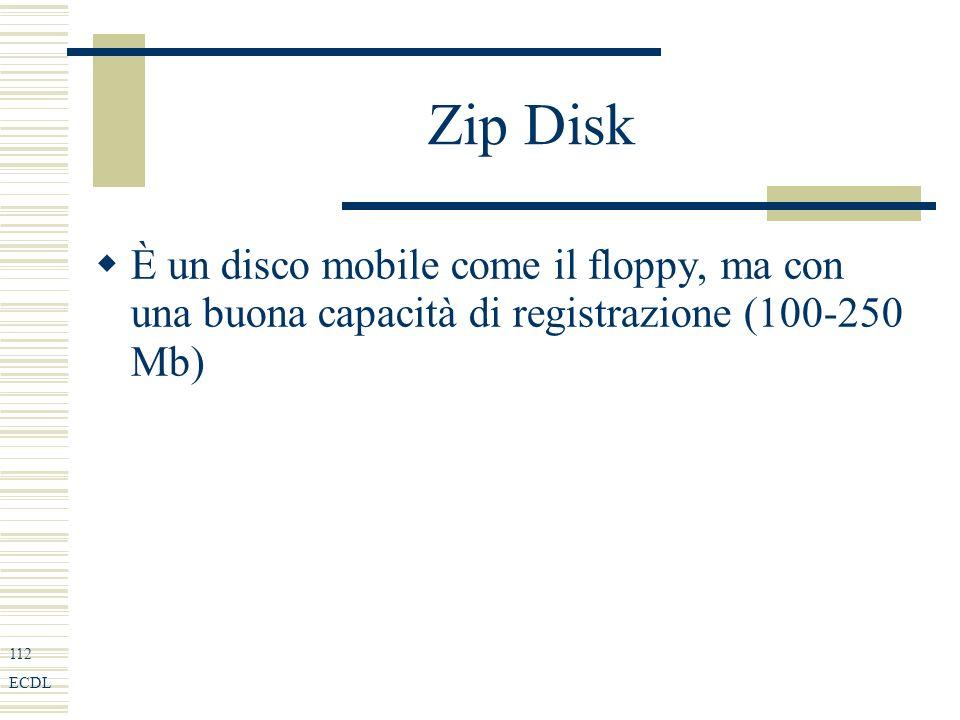 112 ECDL Zip Disk È un disco mobile come il floppy, ma con una buona capacità di registrazione (100-250 Mb)