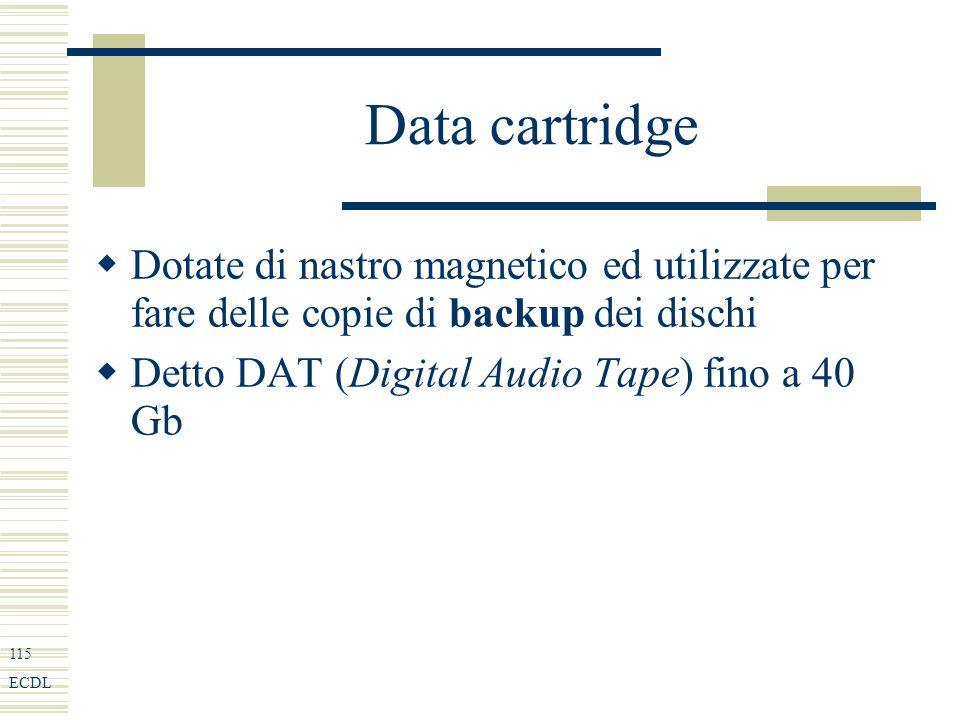 115 ECDL Data cartridge Dotate di nastro magnetico ed utilizzate per fare delle copie di backup dei dischi Detto DAT (Digital Audio Tape) fino a 40 Gb