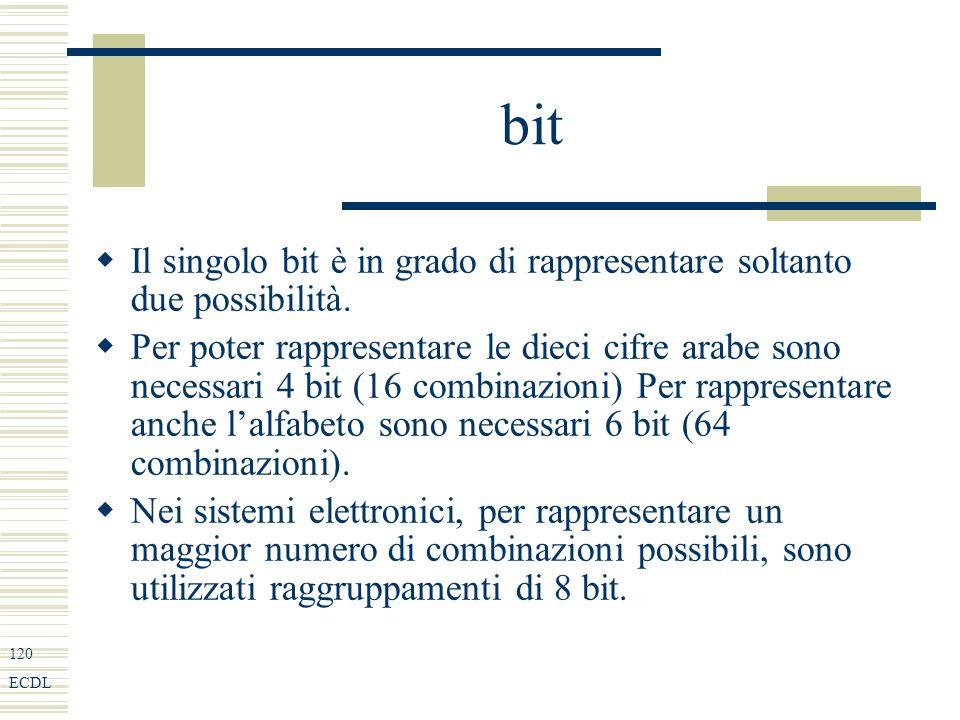 120 ECDL bit Il singolo bit è in grado di rappresentare soltanto due possibilità.