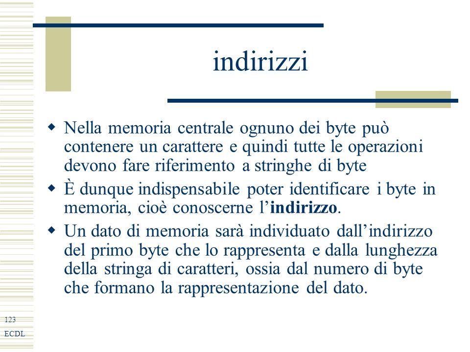 123 ECDL indirizzi Nella memoria centrale ognuno dei byte può contenere un carattere e quindi tutte le operazioni devono fare riferimento a stringhe di byte È dunque indispensabile poter identificare i byte in memoria, cioè conoscerne lindirizzo.