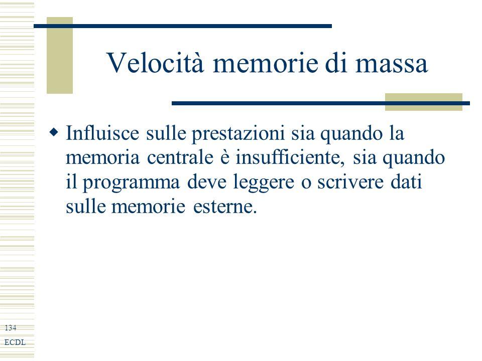 134 ECDL Velocità memorie di massa Influisce sulle prestazioni sia quando la memoria centrale è insufficiente, sia quando il programma deve leggere o scrivere dati sulle memorie esterne.