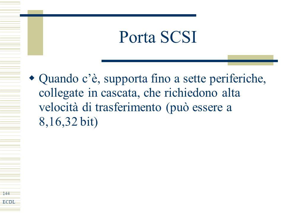 144 ECDL Porta SCSI Quando cè, supporta fino a sette periferiche, collegate in cascata, che richiedono alta velocità di trasferimento (può essere a 8,16,32 bit)