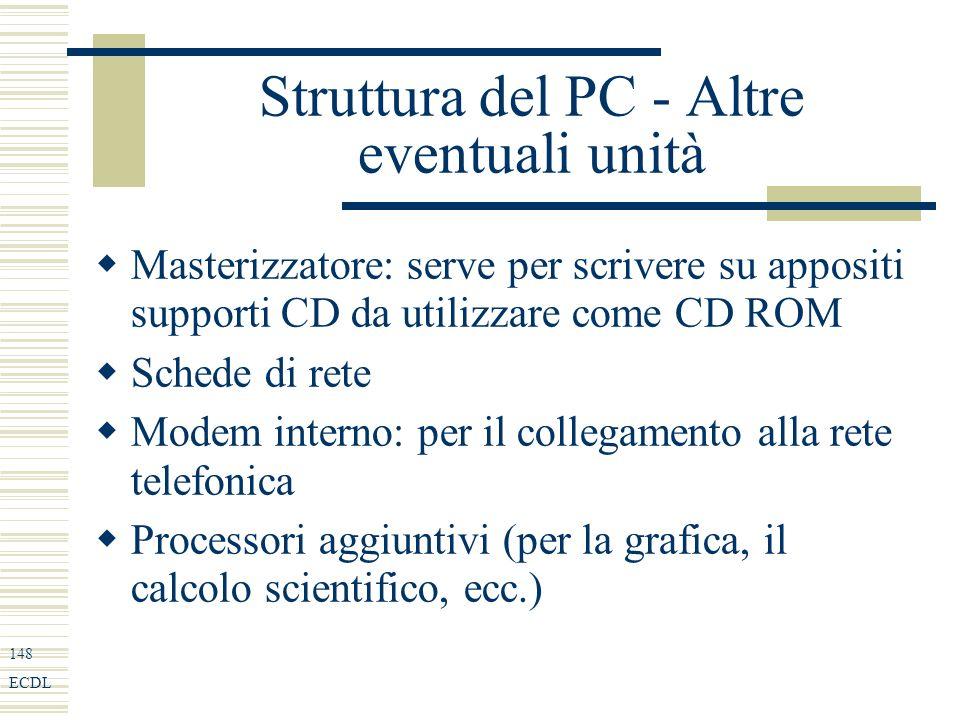148 ECDL Struttura del PC - Altre eventuali unità Masterizzatore: serve per scrivere su appositi supporti CD da utilizzare come CD ROM Schede di rete Modem interno: per il collegamento alla rete telefonica Processori aggiuntivi (per la grafica, il calcolo scientifico, ecc.)