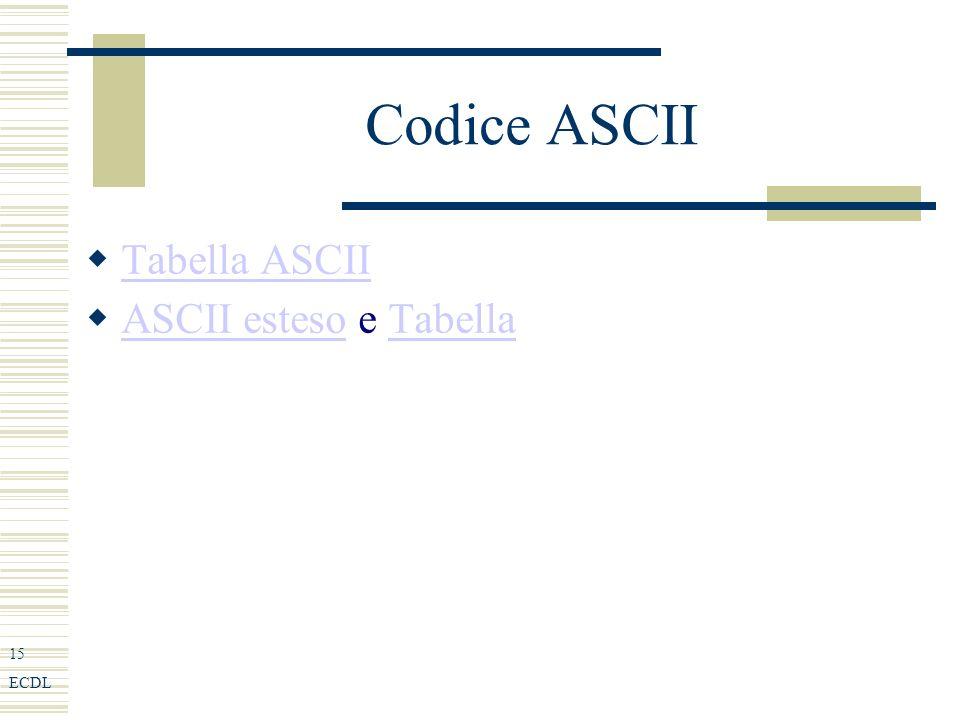 15 ECDL Codice ASCII Tabella ASCII ASCII esteso e Tabella ASCII estesoTabella