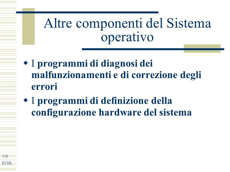 156 ECDL Altre componenti del Sistema operativo I programmi di diagnosi dei malfunzionamenti e di correzione degli errori I programmi di definizione della configurazione hardware del sistema