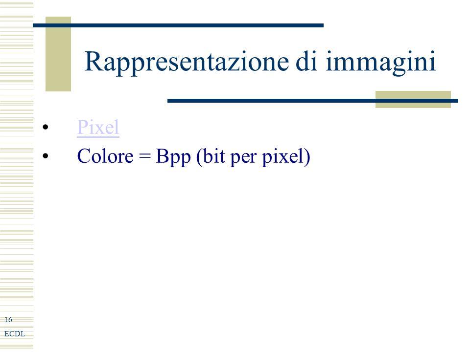 16 ECDL Rappresentazione di immagini Pixel Colore = Bpp (bit per pixel)