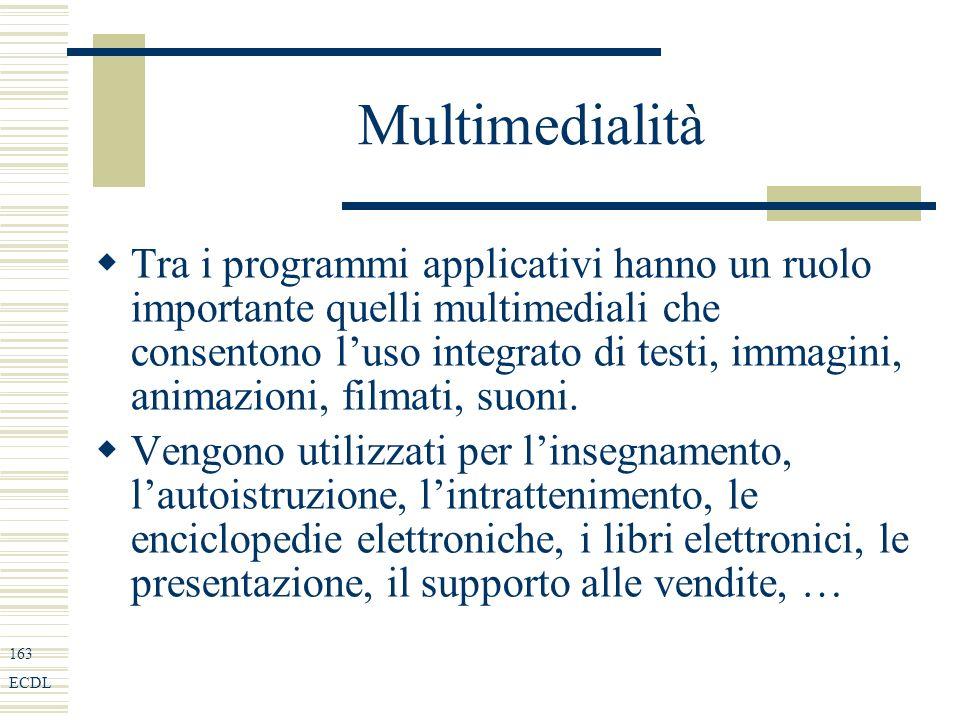 163 ECDL Multimedialità Tra i programmi applicativi hanno un ruolo importante quelli multimediali che consentono luso integrato di testi, immagini, animazioni, filmati, suoni.