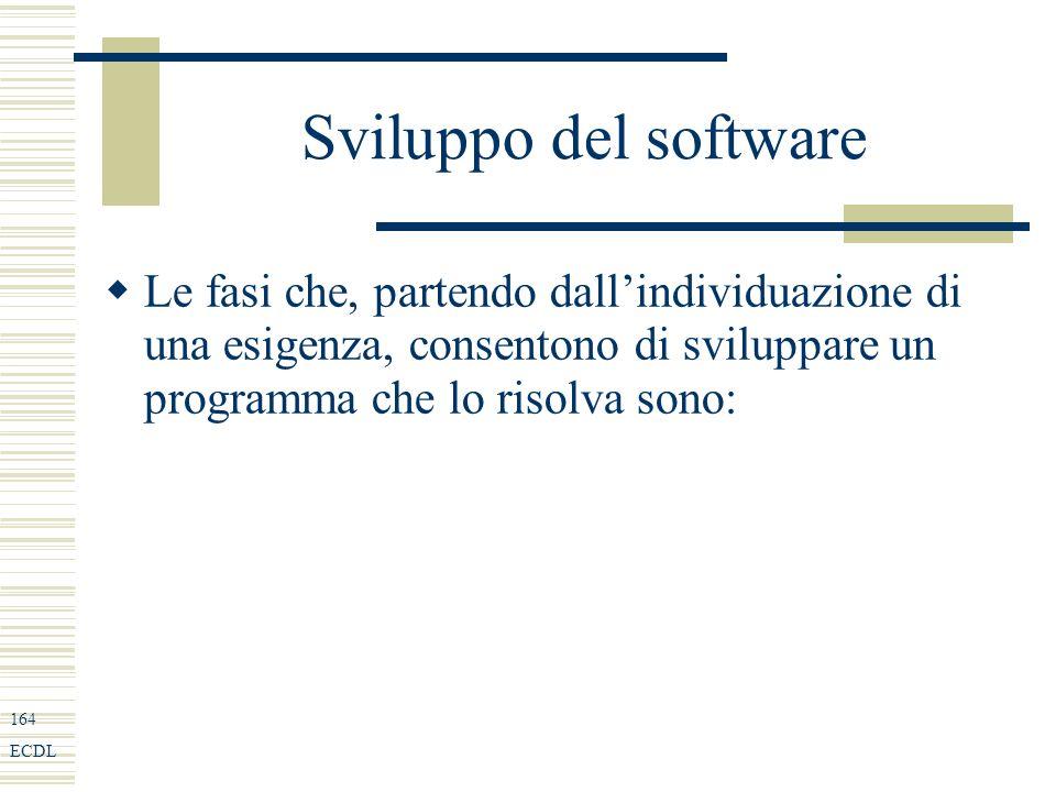 164 ECDL Sviluppo del software Le fasi che, partendo dallindividuazione di una esigenza, consentono di sviluppare un programma che lo risolva sono: