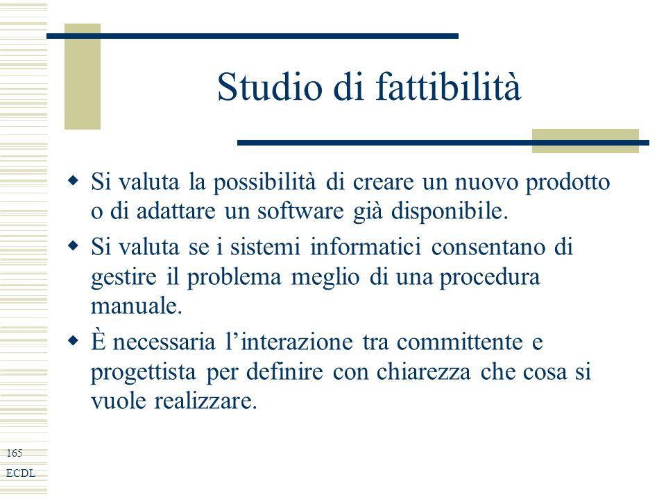 165 ECDL Studio di fattibilità Si valuta la possibilità di creare un nuovo prodotto o di adattare un software già disponibile.