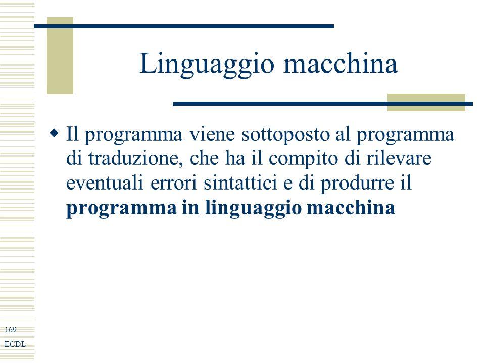 169 ECDL Linguaggio macchina Il programma viene sottoposto al programma di traduzione, che ha il compito di rilevare eventuali errori sintattici e di produrre il programma in linguaggio macchina