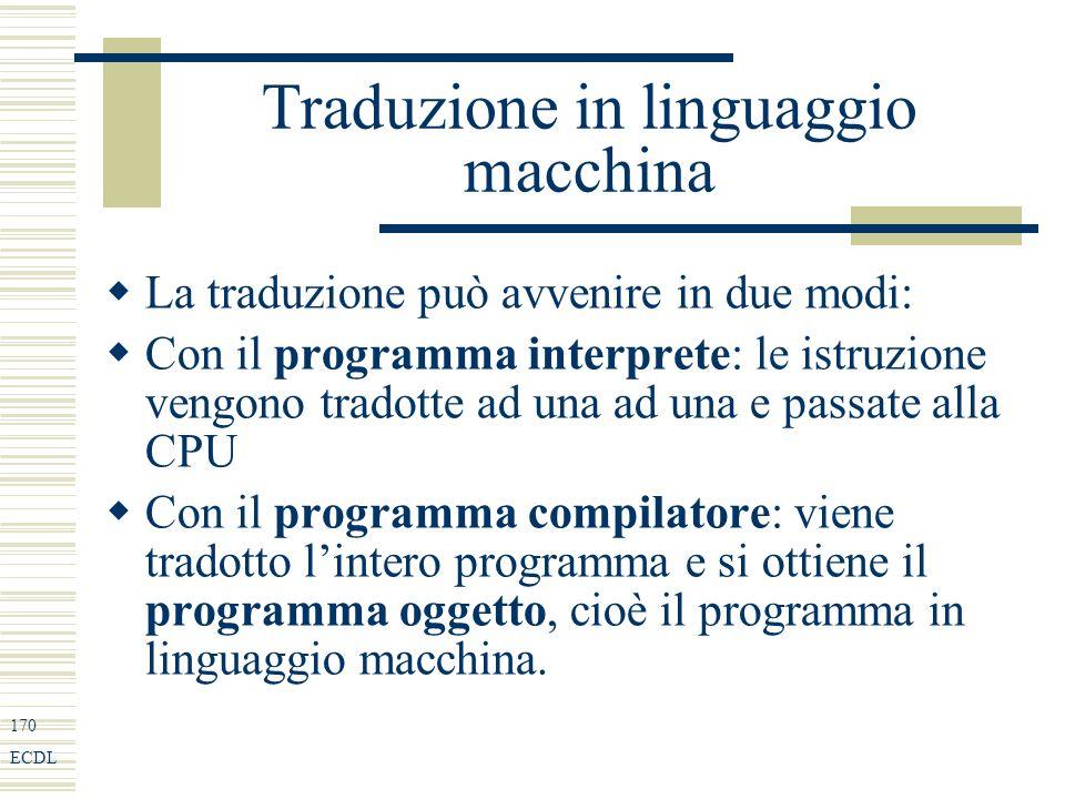 170 ECDL Traduzione in linguaggio macchina La traduzione può avvenire in due modi: Con il programma interprete: le istruzione vengono tradotte ad una ad una e passate alla CPU Con il programma compilatore: viene tradotto lintero programma e si ottiene il programma oggetto, cioè il programma in linguaggio macchina.