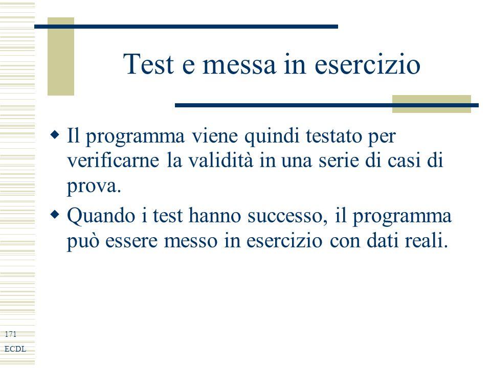 171 ECDL Test e messa in esercizio Il programma viene quindi testato per verificarne la validità in una serie di casi di prova.