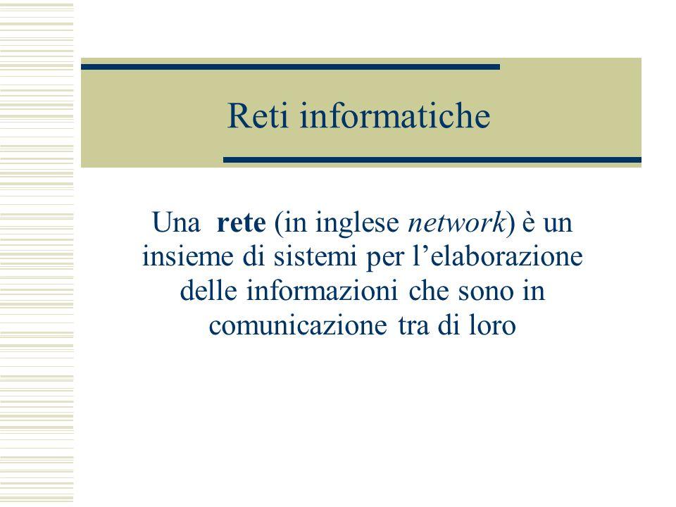 Reti informatiche Una rete (in inglese network) è un insieme di sistemi per lelaborazione delle informazioni che sono in comunicazione tra di loro