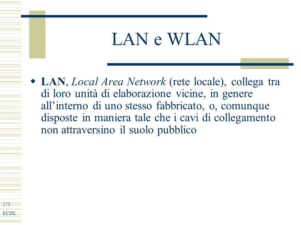 173 ECDL LAN e WLAN LAN, Local Area Network (rete locale), collega tra di loro unità di elaborazione vicine, in genere allinterno di uno stesso fabbricato, o, comunque disposte in maniera tale che i cavi di collegamento non attraversino il suolo pubblico