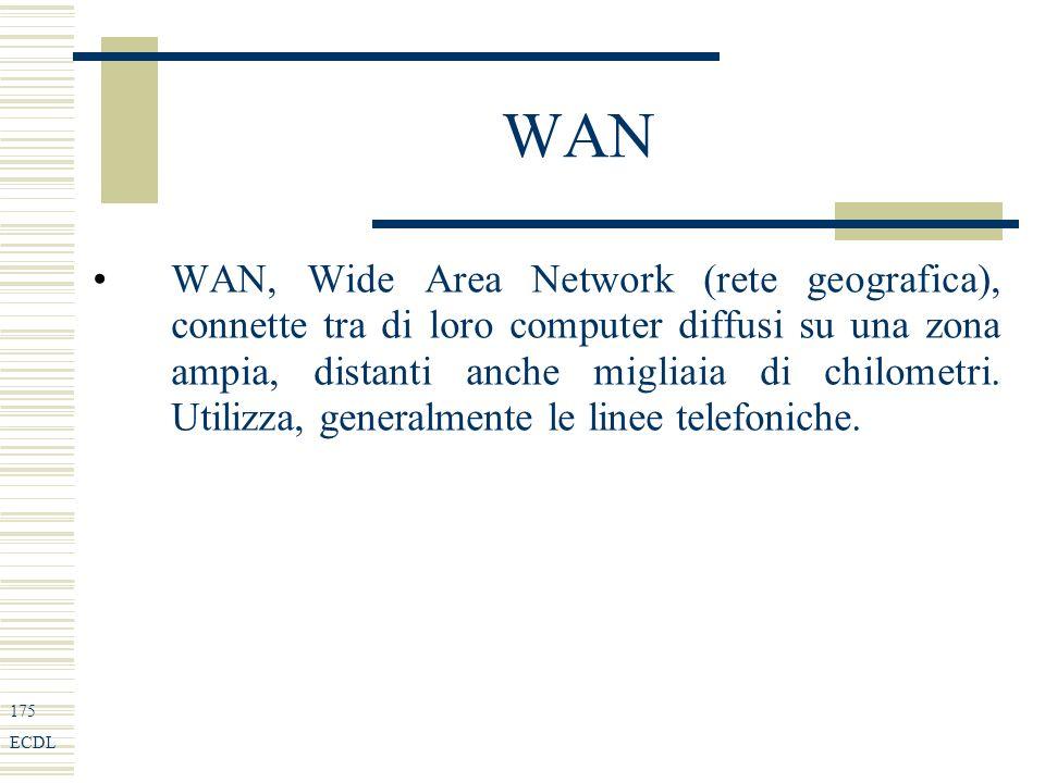 175 ECDL WAN WAN, Wide Area Network (rete geografica), connette tra di loro computer diffusi su una zona ampia, distanti anche migliaia di chilometri.