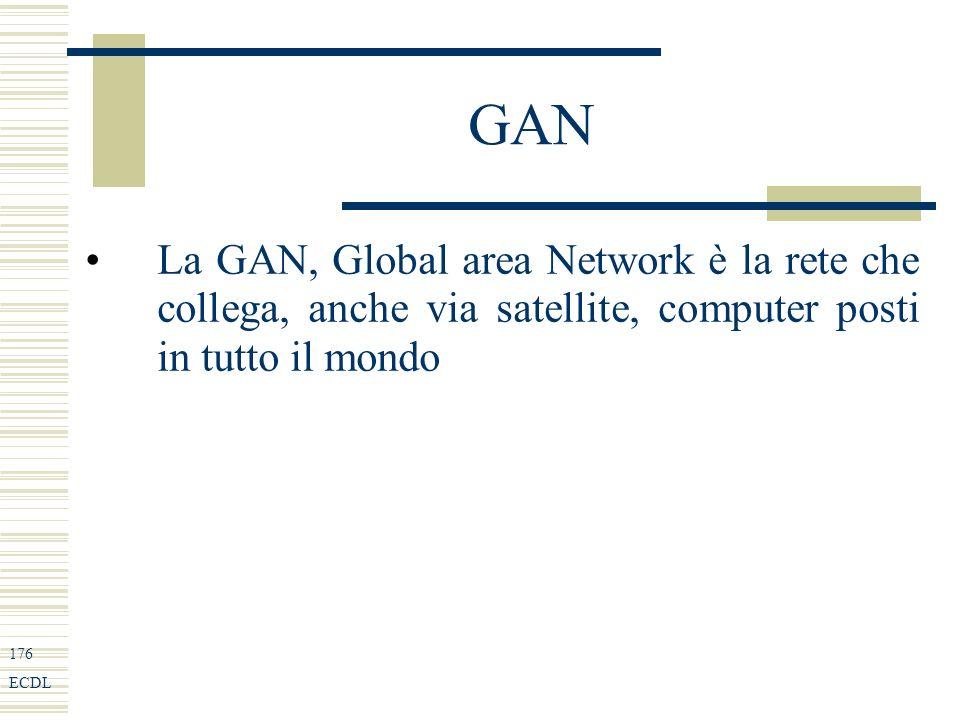 176 ECDL GAN La GAN, Global area Network è la rete che collega, anche via satellite, computer posti in tutto il mondo